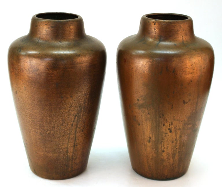 Arts and Crafts Clewell American Arts & Crafts Vases in Copper-Clad Ceramic For Sale