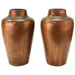 Clewell American Arts & Crafts Vases in Copper-Clad Ceramic