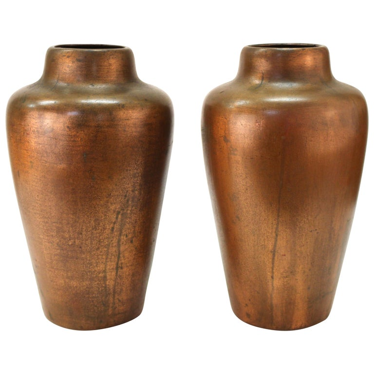 Clewell American Arts & Crafts Vases in Copper-Clad Ceramic For Sale
