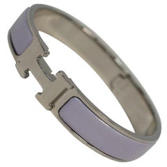 Clic ClacGM  enamel x Palladium plated  bangle  violet x silver