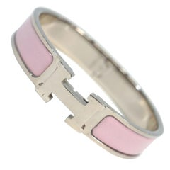 Clic ClacPM  enamel x Palladium plated  Womens  bangle  baby pink x silver