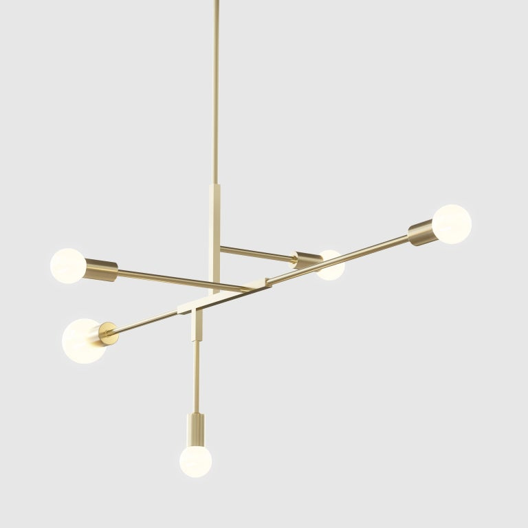 Contemporary Cliff brass chandelier, LED For Sale