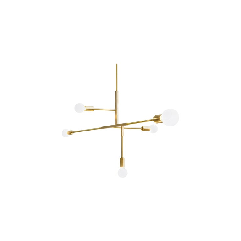 Cliff brass chandelier, LED For Sale