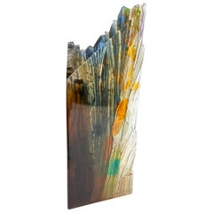 Cliff Edge II, a bronze, clear, amber & blue Glass Sculpture by Crispian Heath