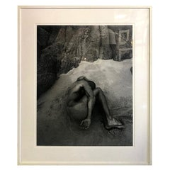 Cliff Watts Large Silver Gelatin Photograph Print of Nude Male on Beach