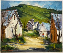 Clifford Holmes Country Farm with Chickens and a Farmer Oil Painting c.1950
