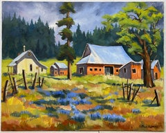 Clifford Holmes Country Homestead with Tall Pines and Wildflowers c.1950
