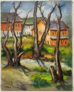 """Clifford Holmes """"Country Stroll"""" Original Oil Painting c.1950"""