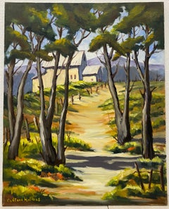 Clifford Holmes Landscape w/ Outbuildings Through The Trees Oil Painting c.1950