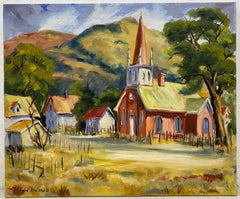 Clifford Holmes Northern California Foothills Country Church Oil Painting C.1950