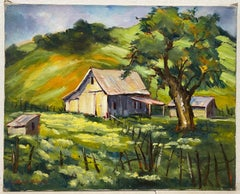 Clifford Holmes Rolling Hills Country Landscape W/ Barn and Oak Tree C.1950