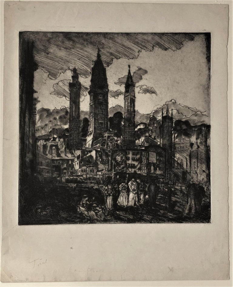 City Towers (City Hall, Philadelphia). state 6 - Print by Clifford Isaac Addams