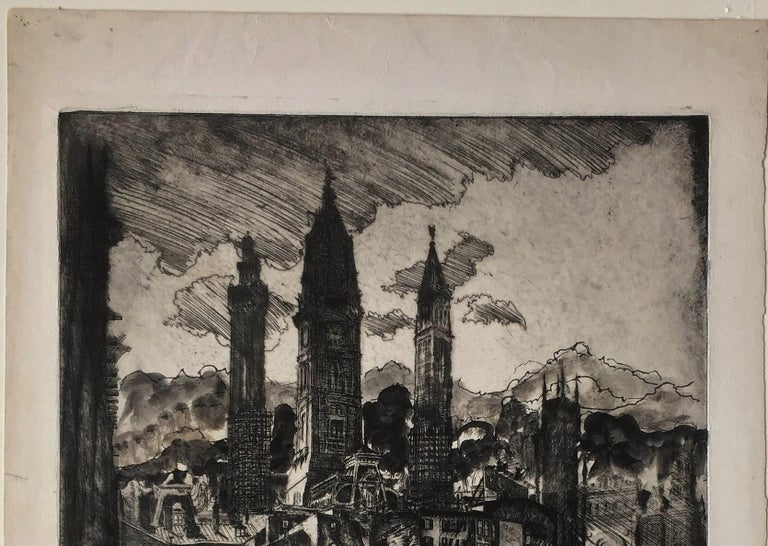 City Towers (City Hall, Philadelphia). state 6 - American Modern Print by Clifford Isaac Addams