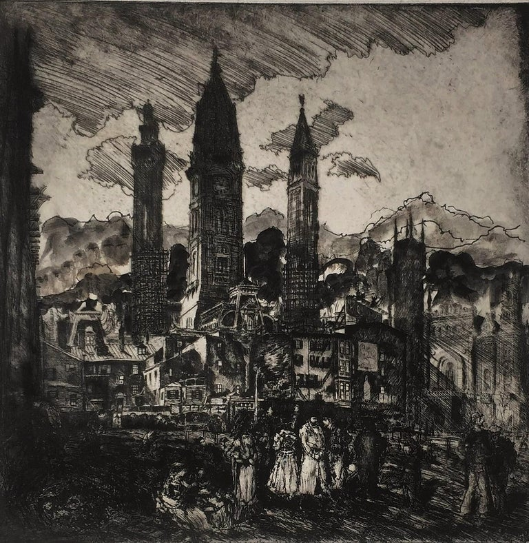 City Towers (City Hall, Philadelphia). c. 1912. Etching and drypoint with oil paint additions. Hausberg 142. vi. 14 x 14 (sheet 20 x 16). Touched proof with extensive oil paint addition of hills in the background. Two professionally repaired tears