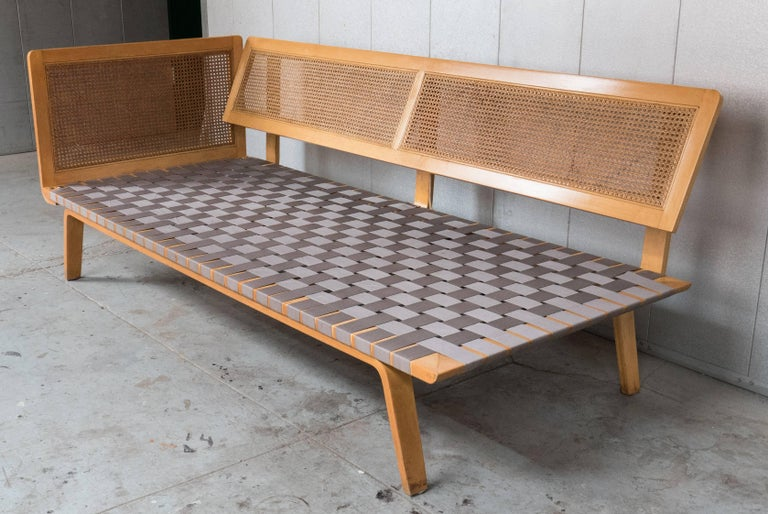 Rare early postwar daybed with birch frame and original webbing and caning. A Clifford Pascoe design for Pascoe Industries, circa 1948. In unusually good original condition, marred only by a few scuffs to the birch and a few small breaks to the