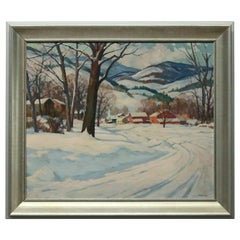 Clifford Ulp Oil on Canvas Landscape Painting, Winter Village Scene, circa 1940