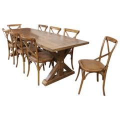 Clifton Handmade Pine Trestle Dining Table, 20th Century
