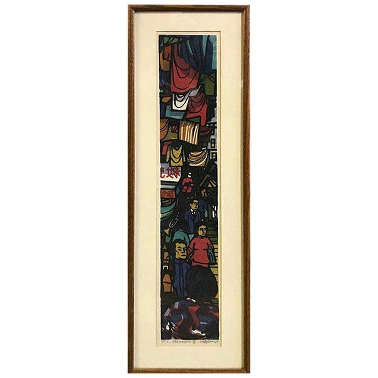 Clifton Karhu Limited Edition Japanese Woodblock Print Hong Kong II, 1969 For Sale