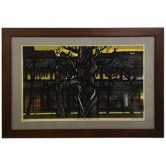 "Clifton Karhu Limited Edition Japanese Woodblock Print ""Karasuma Street, Kyoto"""