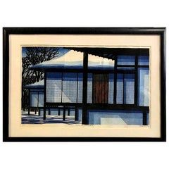 Clifton Karhu Limited Edition Japanese Woodblock Print Snow at Katsura, 1970