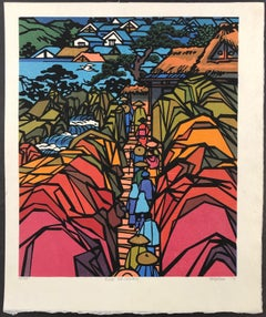 Edo Sojourn, Japanese, Wood cut, limited edition print, red, orange, back, blue