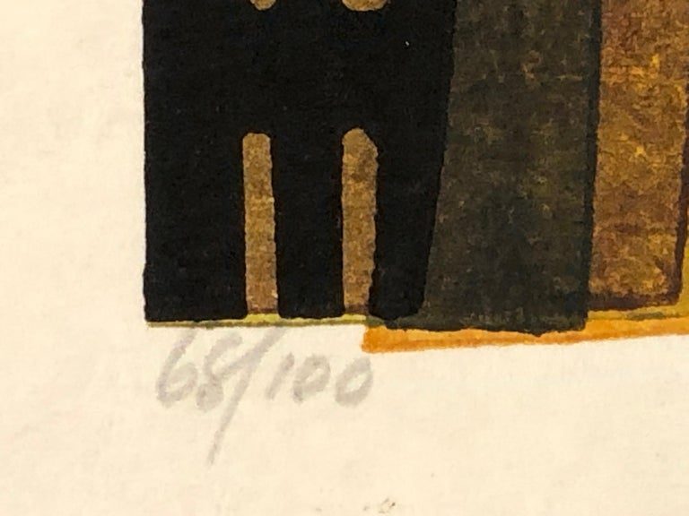 Gobancho, Japanese, woodblock print, limited edition, yellow, brown, green,night - Contemporary Print by Clifton Karhu