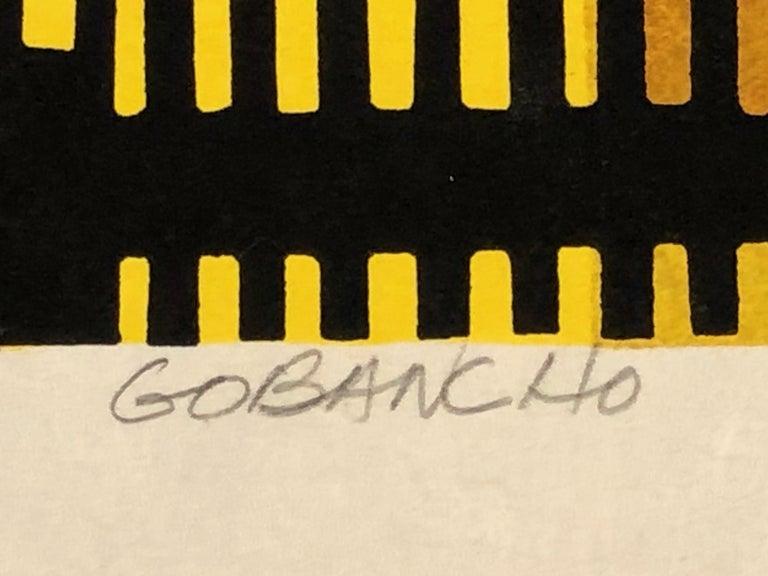 Gobancho, Japanese, woodblock print, limited edition, yellow, brown, green,night - Black Print by Clifton Karhu
