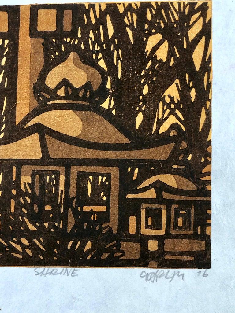 Shrine, wood block print, Japan, yellow, brown, black, graphic, Karhu - Print by Clifton Karhu