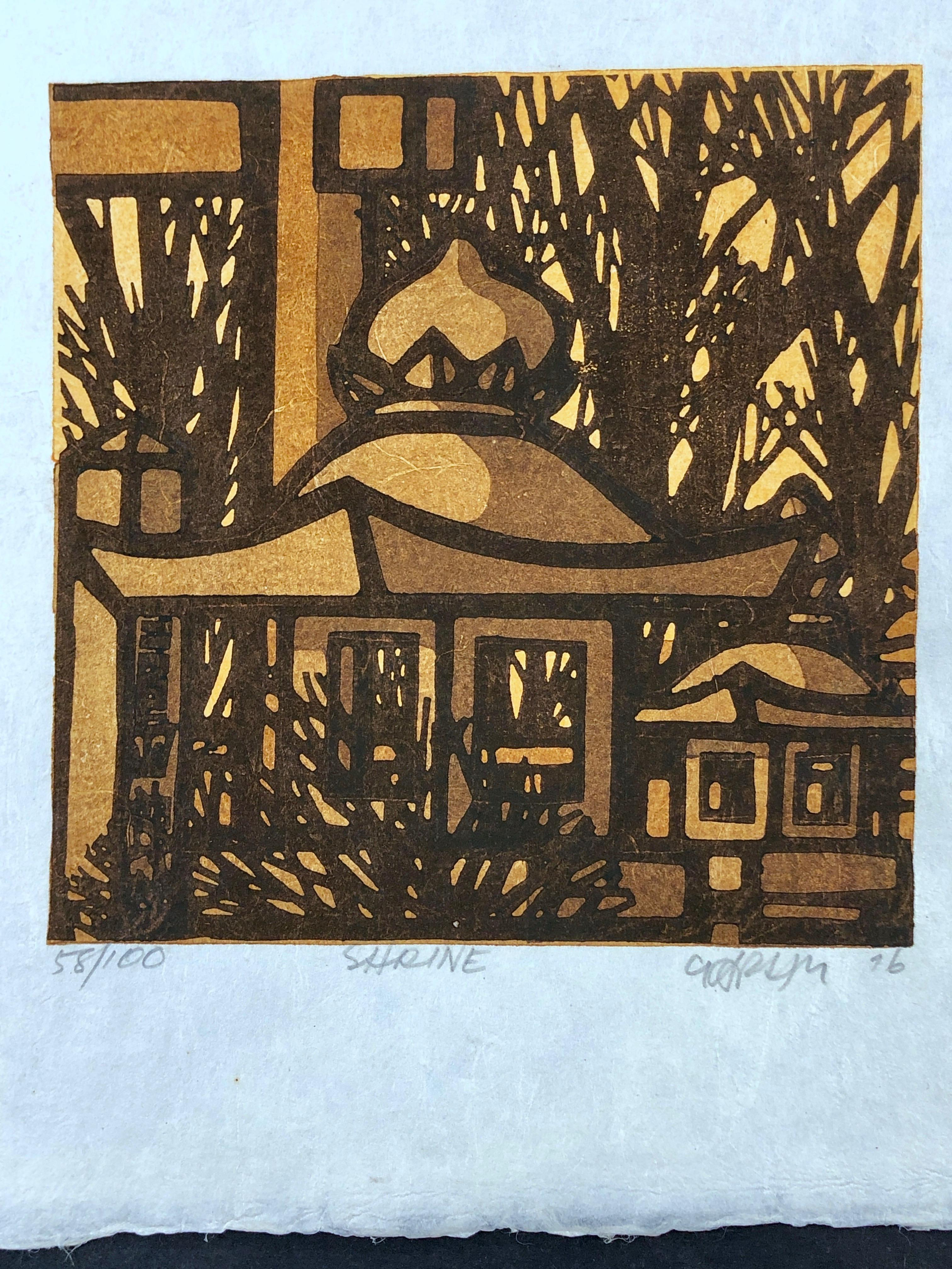 Shrine, wood block print, Japan, yellow, brown, black, graphic, Karhu