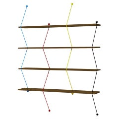 Climb 120 Shelving System Color Metal Threads, Walnut
