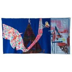 'Climb Flower Mountain' Quilt Painting Wool Tapestry Textile Art, In Stock