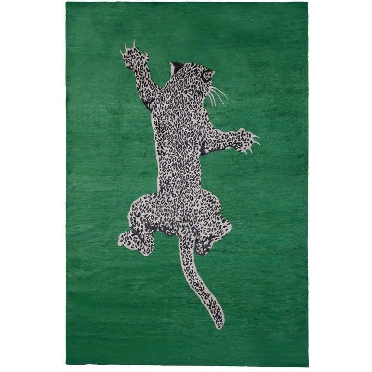 Climbing Leopard Hand-Knotted 10x8 Rug in Silk by Diane von Furstenberg For Sale