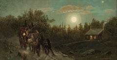 Carriage by Moonlight, Clinton Loveridge (1824-1915, American)