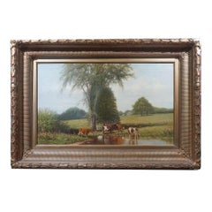 Hudson River school Bucolic Pastoral Cows in a farm w/ Trout Stream Painting