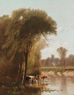 Idyllic Landscape with Cows by Clinton Loveridge (1824-1915, American)