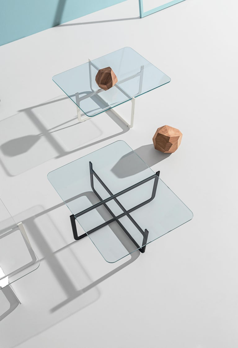 Italian Clip Coffee Table, Welded Lacquered Metal and Glass by Nendo For Sale