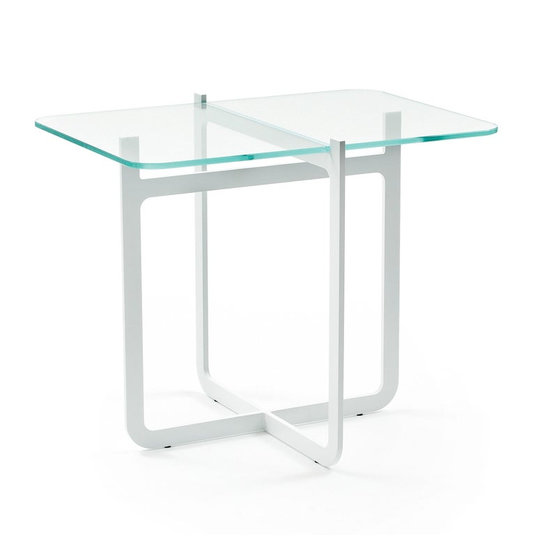 Clip Coffee Table, Welded Lacquered Metal and Glass by Nendo In New Condition For Sale In Biancade, IT