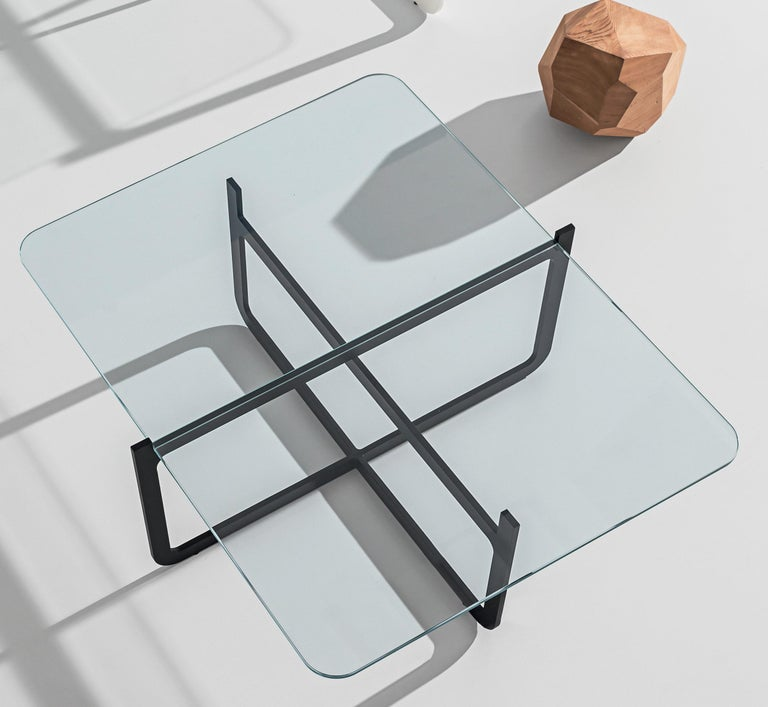 Contemporary Clip Coffee Table, Welded Lacquered Metal and Glass by Nendo For Sale