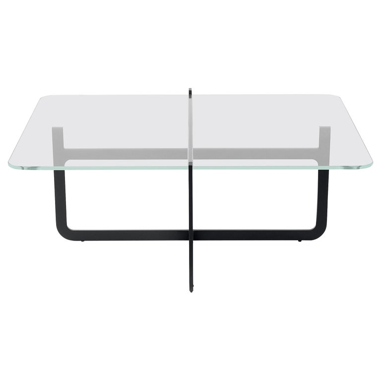 Clip Coffee Table, Welded Lacquered Metal and Glass by Nendo For Sale