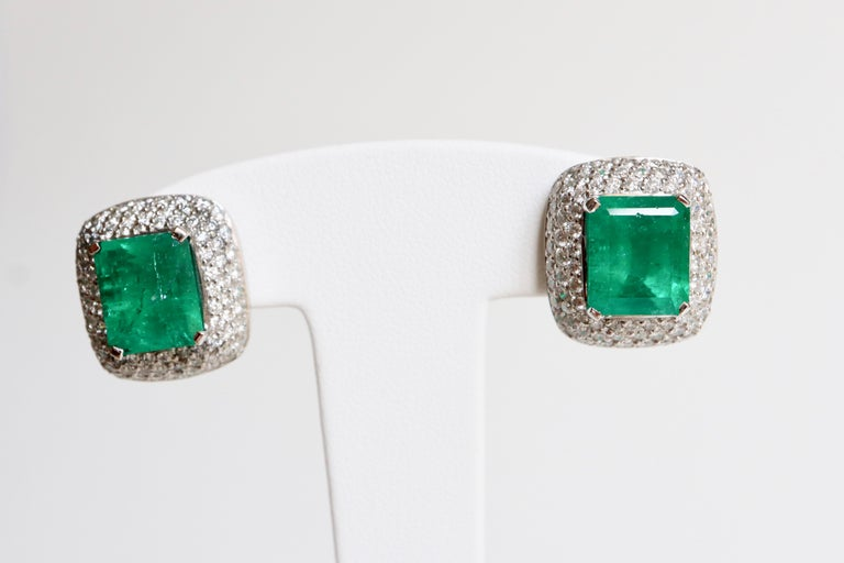 Women's Clip Earrings Emeralds 10.02 Carat and Diamonds 3 Carat in 18 Karat White Gold For Sale