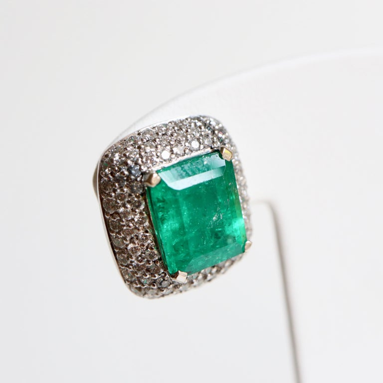 Clip Earrings Emeralds 10.02 Carat and Diamonds 3 Carat in 18 Karat White Gold For Sale 1