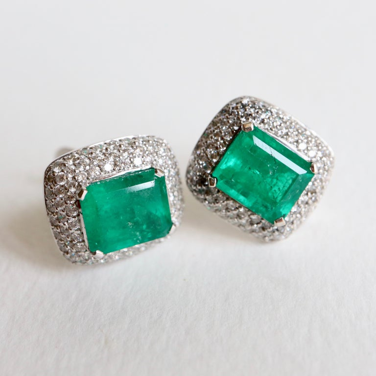 Clip Earrings Emeralds 10.02 Carat and Diamonds 3 Carat in 18 Karat White Gold For Sale 4