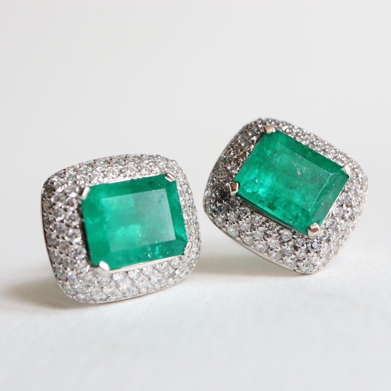 Clip Earrings Emeralds 10.02 Carat and Diamonds 3 Carat in 18 Karat White Gold For Sale 5