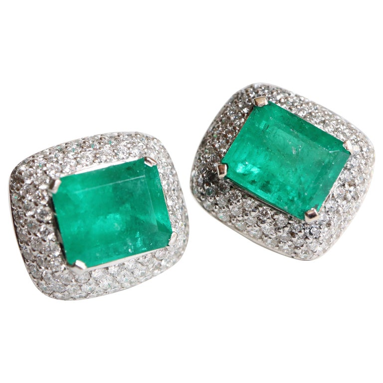 Clip Earrings Emeralds 10.02 Carat and Diamonds 3 Carat in 18 Karat White Gold For Sale