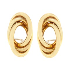 Clip-On Earrings Circle Inside Circle 18 Karat Gold