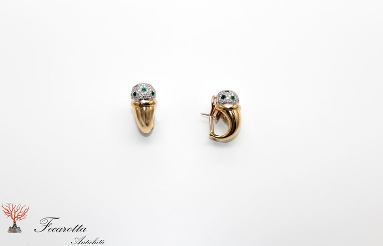 Clip on earrings in 18 kt white and yellow gold 18kt with diamonds 1,50 ct and emeralds by Antonini