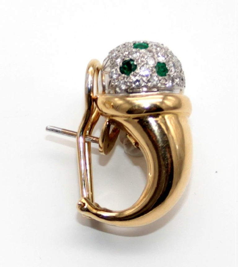 Clip-On Earrings with Diamonds Pave and Emeralds by Antonini In Good Condition For Sale In Palermo, IT