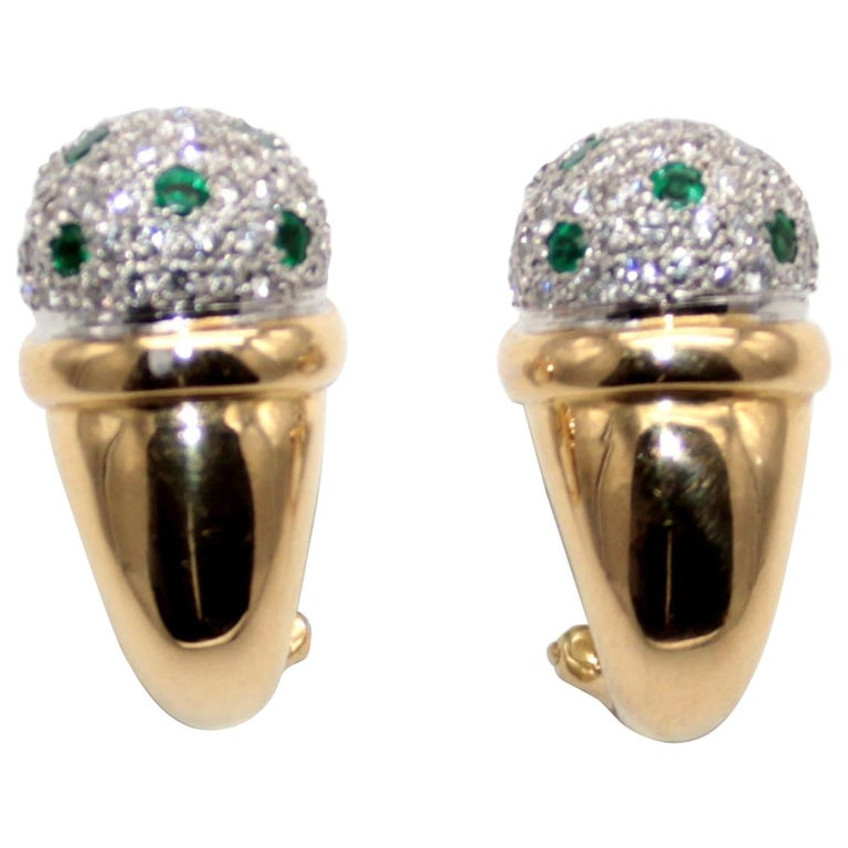 Clip-On Earrings with Diamonds Pave and Emeralds by Antonini For Sale