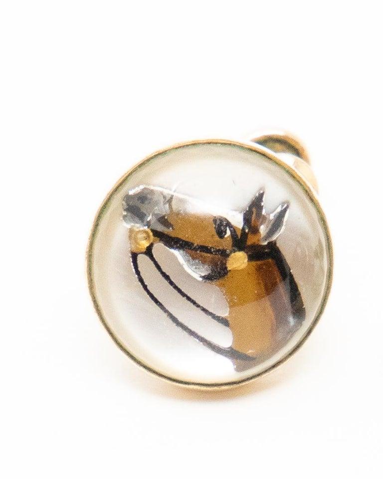 Art Deco Clip-On Horse Head Earrings For Sale