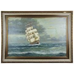 Clipper Ship Seascape Oil Painting by Winnifred Ocean Nautical Maritime